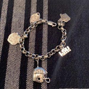 LSU TIGERS sterling silver charm bracelet